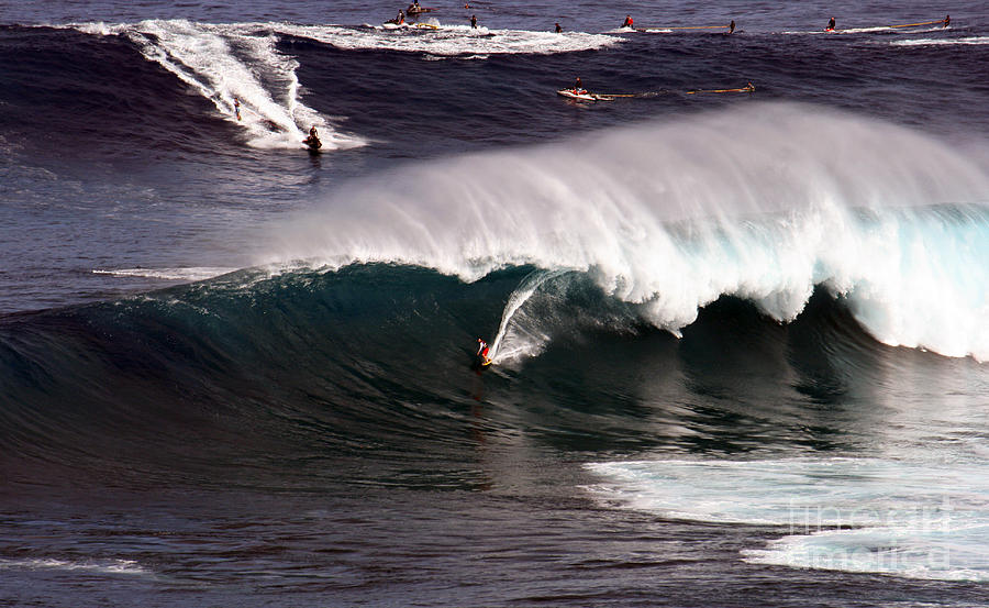 Tow Photograph - Surfing Jaws Maui  by Paul Karanik
