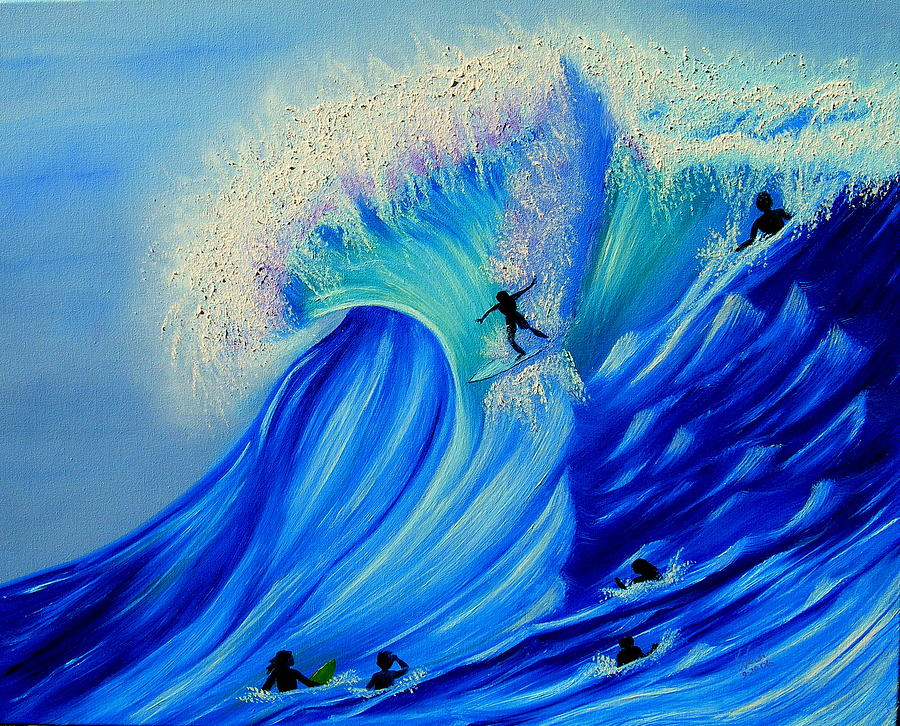 Surf Painting - Surfing Party by Kathern Ware
