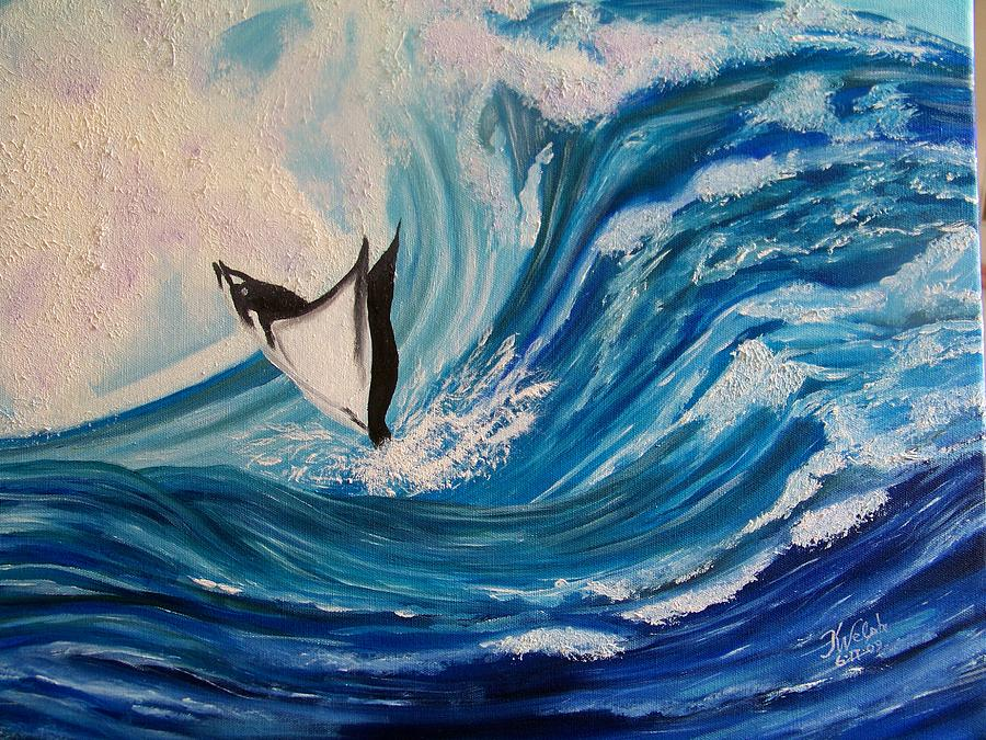 Ocean Painting - Surfing Stingray II by Kathern Welsh