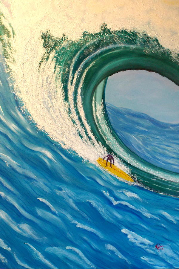 Wave Painting - Surfing The Gigantic Wave  by Kathern Welsh