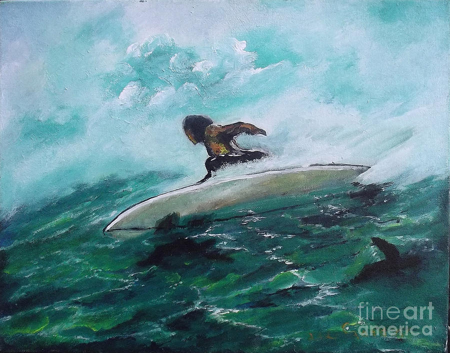 Surfer Painting - Surfs Up by Donna Chaasadah