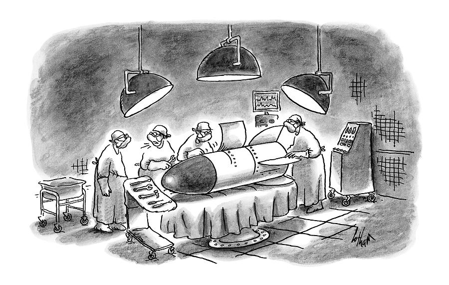 Surgeons Working On A Bomb In Operating Room Drawing by Frank Cotham