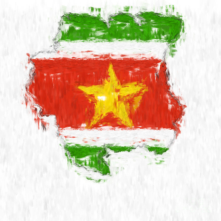Suriname Painted Flag Map Painting