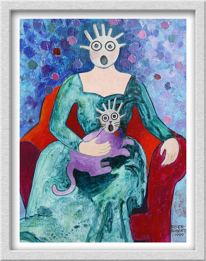 Surprised Woman With Frightened Cat Painting by Eve Riser Roberts