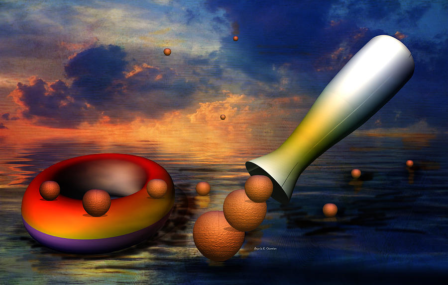 Sea Digital Art - Surreal Dinner Served Over The Ocean by Angela A Stanton