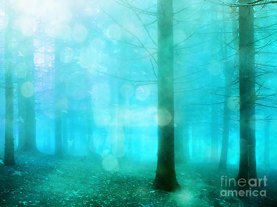 Teal Turquoise Photograph - Surreal Dreamy Fantasy Bokeh Aqua Teal Turquoise Woodlands Trees  by Kathy Fornal