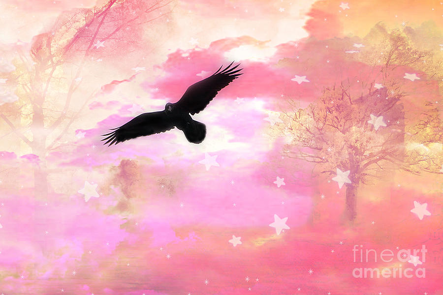 Ravens Crows In Pink Nature Photograph - Surreal Dreamy Fantasy Ravens Pink Sky Scene by Kathy Fornal