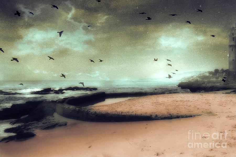 Surreal Fantasy Ocean Photos Photograph - Surreal Dreamy Ocean Beach Birds Sky Nature by Kathy Fornal