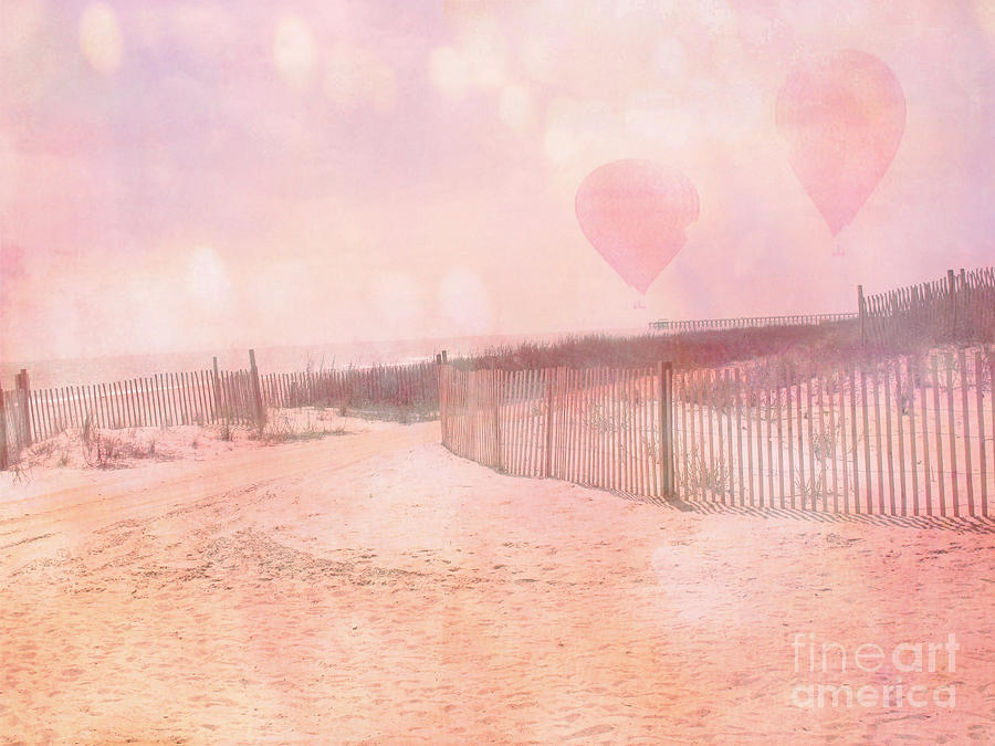 Surreal Dreamy Pink Coastal Summer Beach Ocean With Balloons Photograph by Kathy Fornal