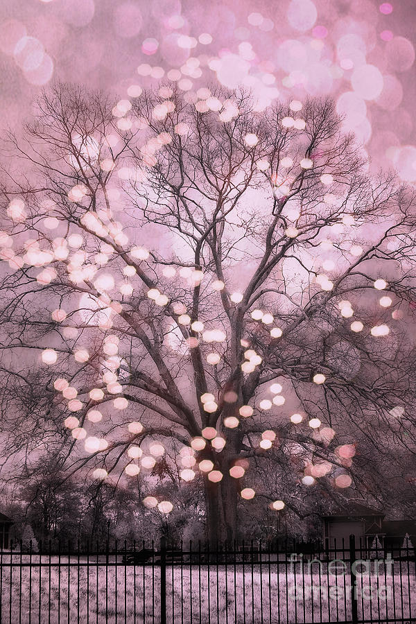 fantasy starlit trees photograph surreal fairytale pink nature trees fairy lights bokeh nature decor - Pink Trees