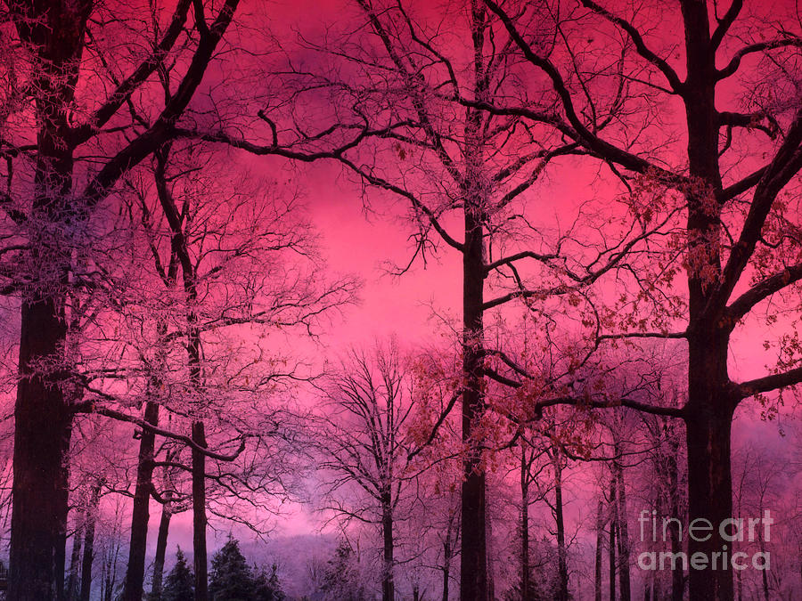 Surreal Fantasy Dark Pink Forest Woodlands Trees With Dark