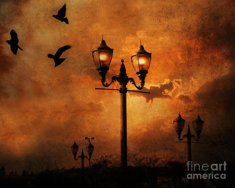 Surreal Fantasy Gothic Night Lanterns Ravens  Photograph by Kathy Fornal