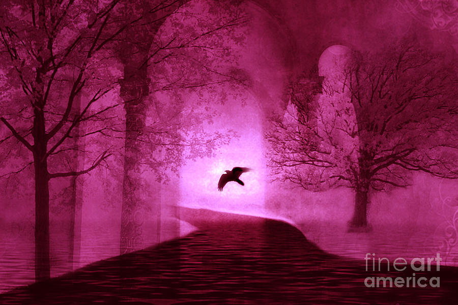 Surreal Fantasy Gothic Raven Crow Nature Photograph by Kathy Fornal