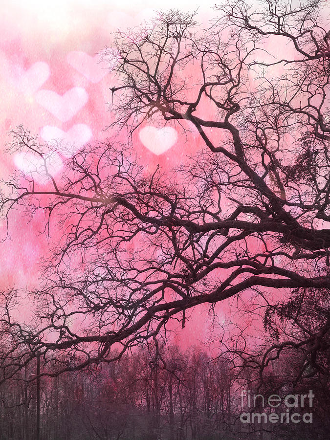 surreal fantasy pink hearts trees and nature dreamy pink hearts in trees photograph by kathy fornal - Pink Trees