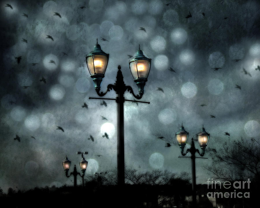 Surreal Fantasy Street Lamps Dreamy Flying Ravens Haunting