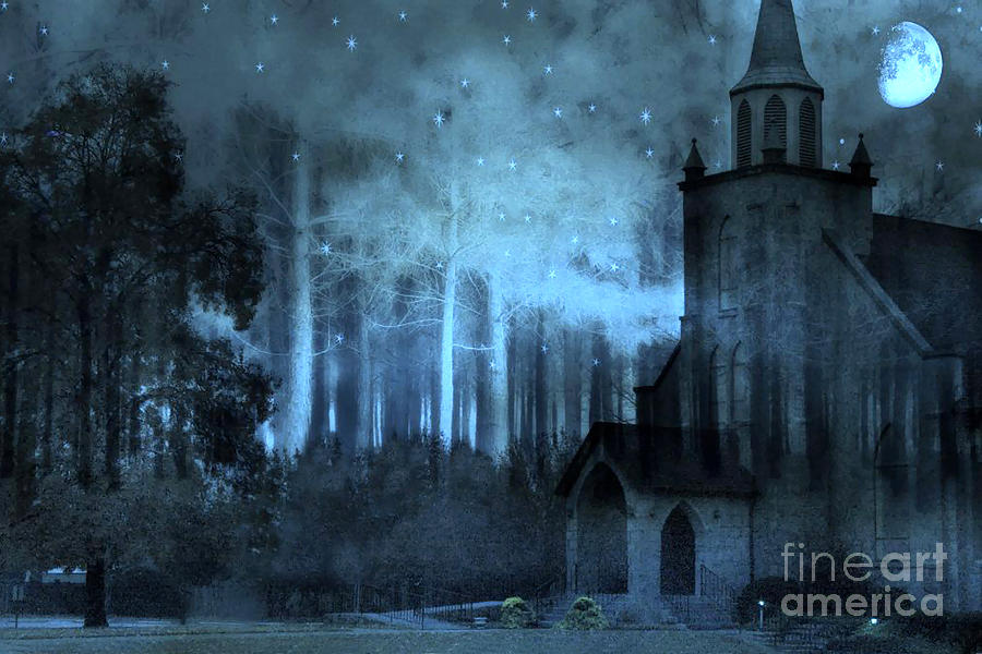 Surreal Gothic Church Full Moon And Stars Photograph By Kathy Fornal