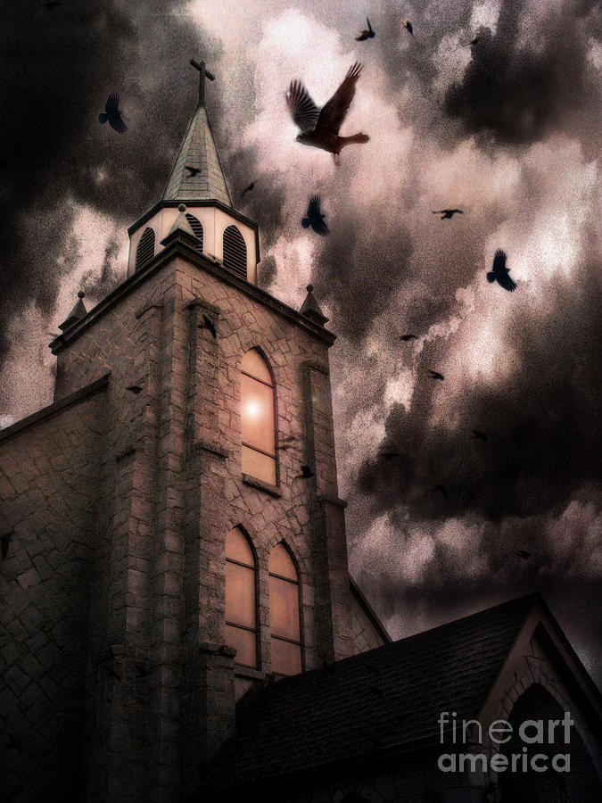 Surreal Gothic Church Storm Clouds Haunting Flying Ravens