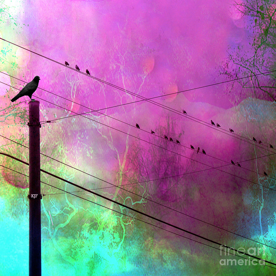 Birds On Powerline Photograph - Surreal Gothic Fantasy Raven Crows On Powerlines by Kathy Fornal