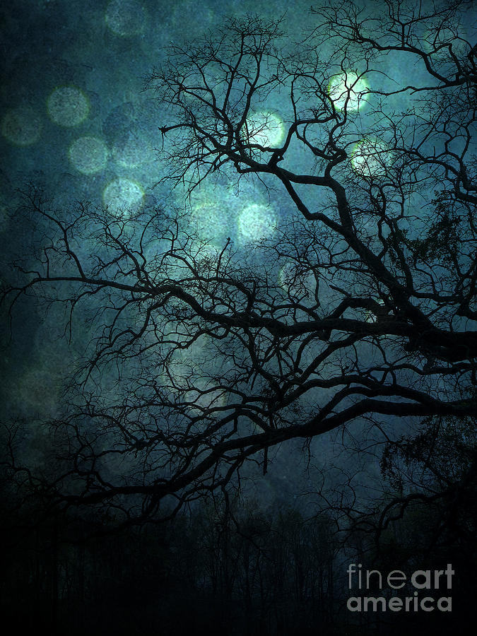 Surreal Gothic Haunting Dark Blue Teal Trees Nature Forest ...