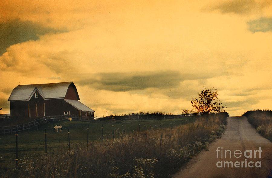 Surreal Michigan Farm Yellow Sky Rural Country Road Barn