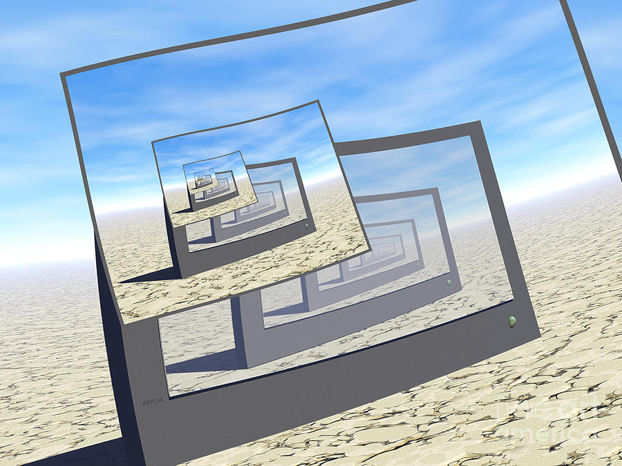 Surreal Digital Art - Surreal Monitors Infinite Loop by Phil Perkins