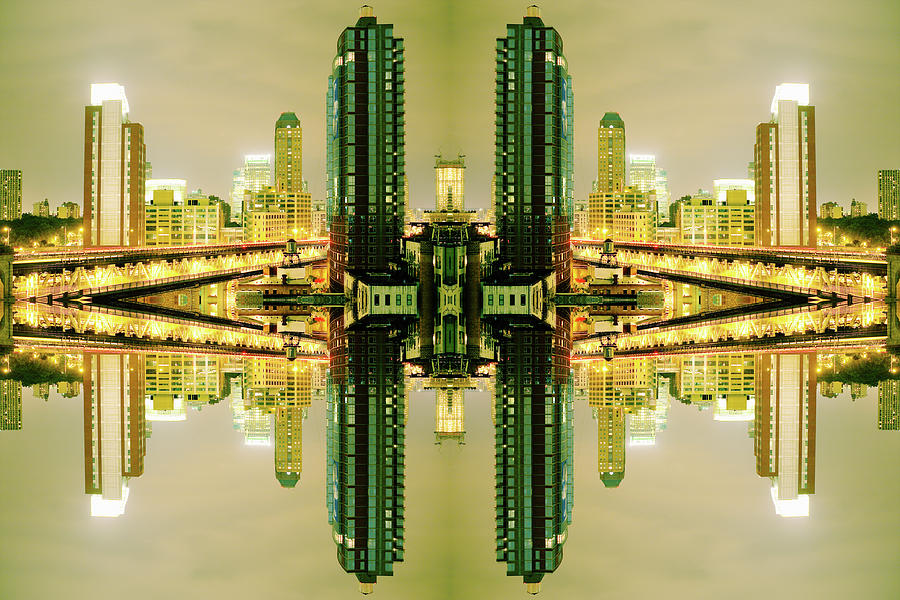 Surreal View Of Brooklyn Skyscrapers At Photograph by Silvia Otte