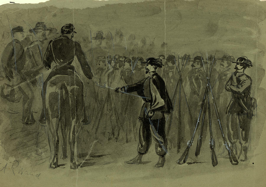 Surrender Drawing - Surrender Of The Revolting Garibaldi Guards To The U by Quint Lox