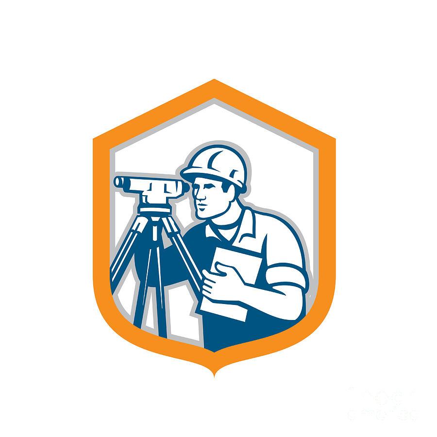 Surveyor Geodetic Engineer Survey Theodolite Shield Retro Digital