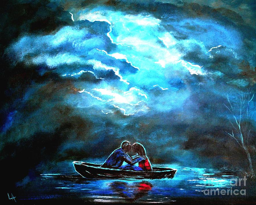 Couple In Love Painting - Surviving The Storm by Leslie Allen