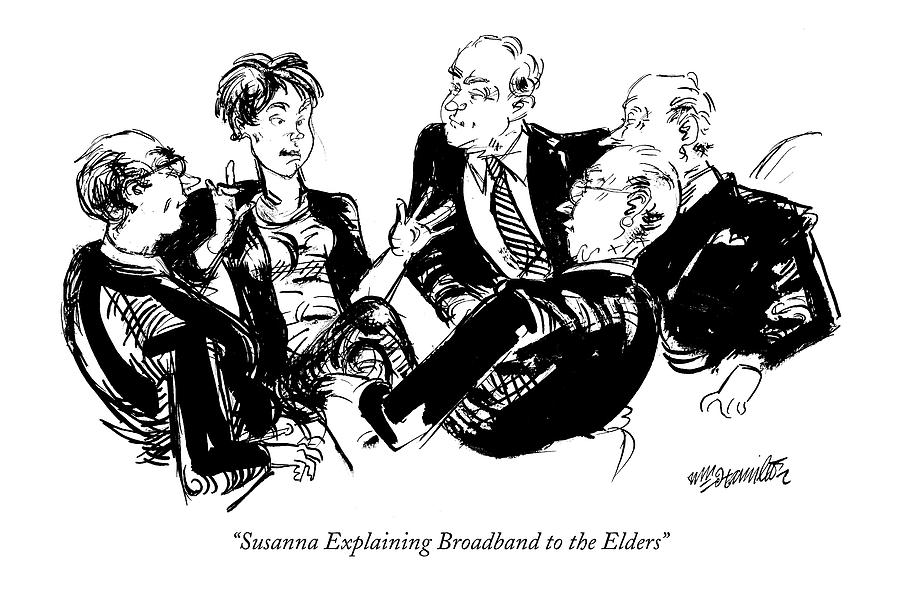 Susanna Explaining Broadband To The Elders Drawing by William Hamilton