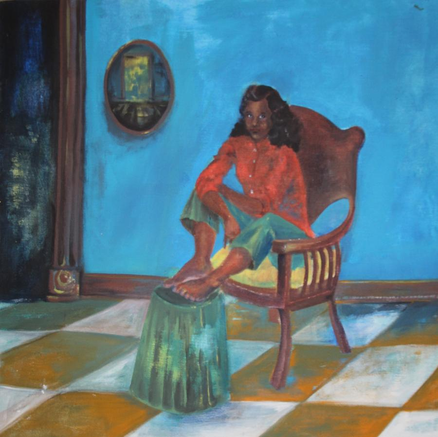 Girl Painting - Suspense by Gloria Jones
