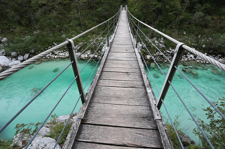 Suspension Bridge, Slovenia Photograph by Franz Aberham
