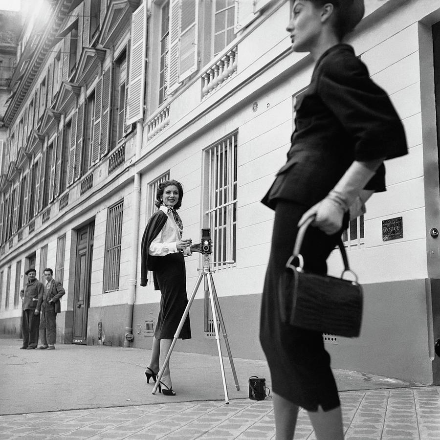 Fashion Photograph - Suzy Parker Photographing A Model In Front by Jacques Boucher