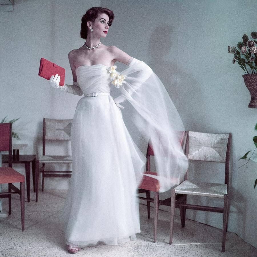 Suzy Parker Wearing A Gown By Christian Dior by Frances Mclaughlin-Gill
