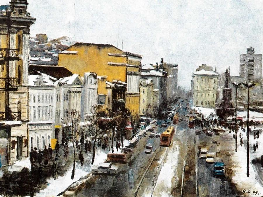 Snow In Svetlanskaya Street Digital Art - Svetlanskaya Street Vladivostok by Jake Hartz