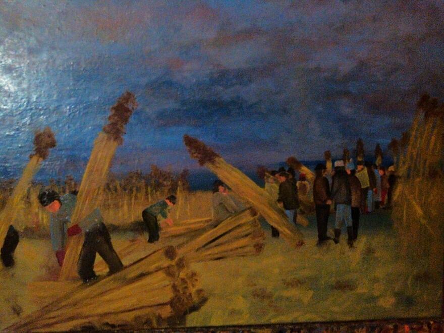 Landscape Painting - Svetsko Prvenstvo U Secenju Trske by Lazar Caran