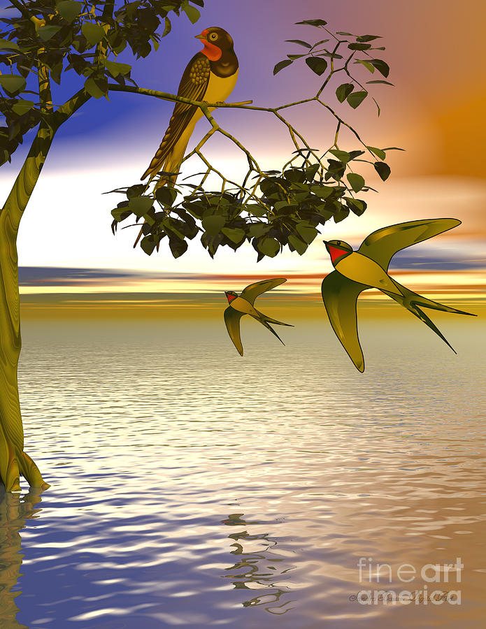 Bryce Digital Art - Swallows At Sundown by Sandra Bauser Digital Art