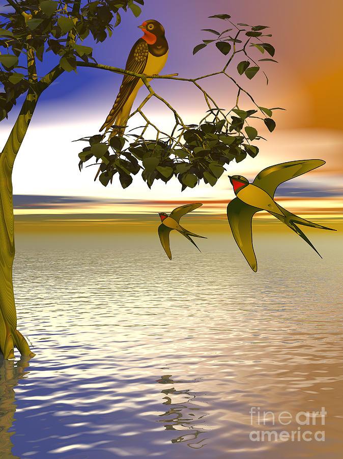 Swallows At Sunset Digital Art by Sandra Bauser Digital Art