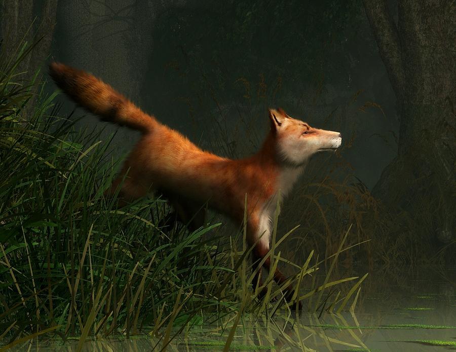 Fox Digital Art - Swamp Fox Detail by Daniel Eskridge