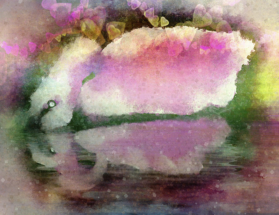 Digital Painting Digital Art - Swan Lake Reflection by Jill Balsam