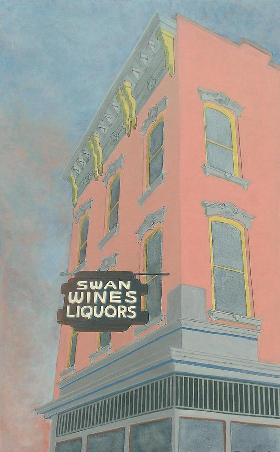 Cityscape Painting - Swan Liquors by David Hinchen