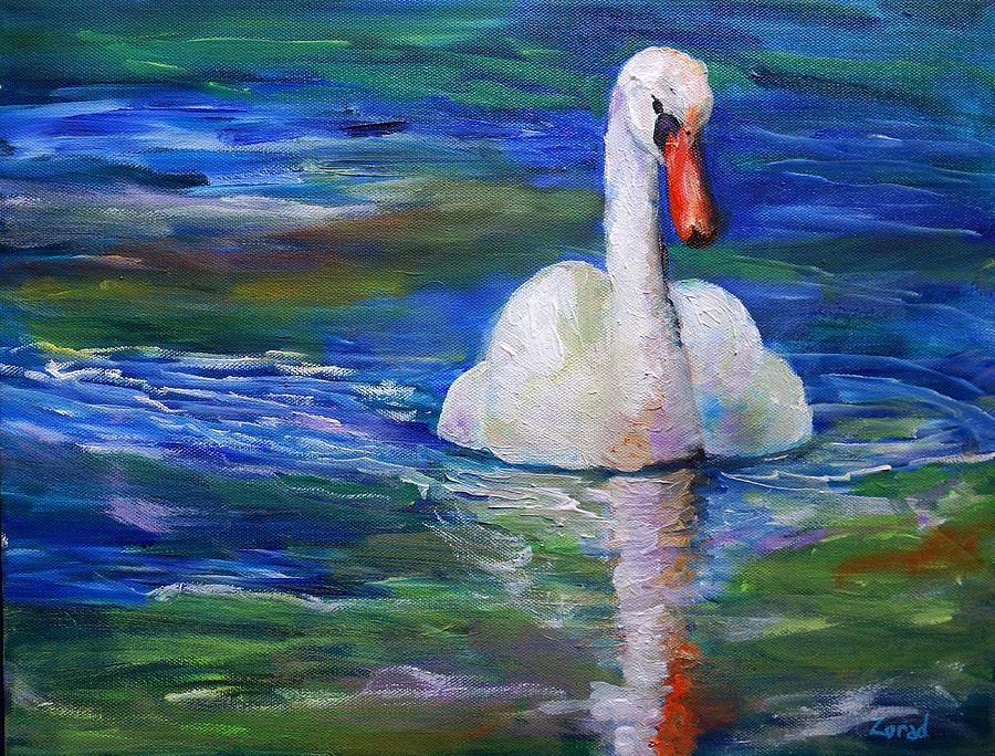 Swan Oil Painting by Mary Jo Zorad