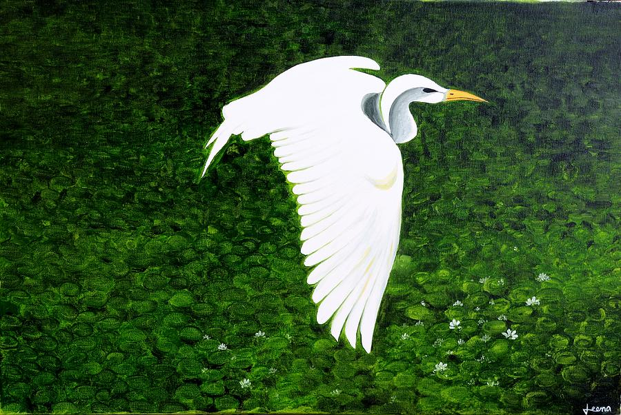 Swan-oil Painting Painting by Rejeena Niaz