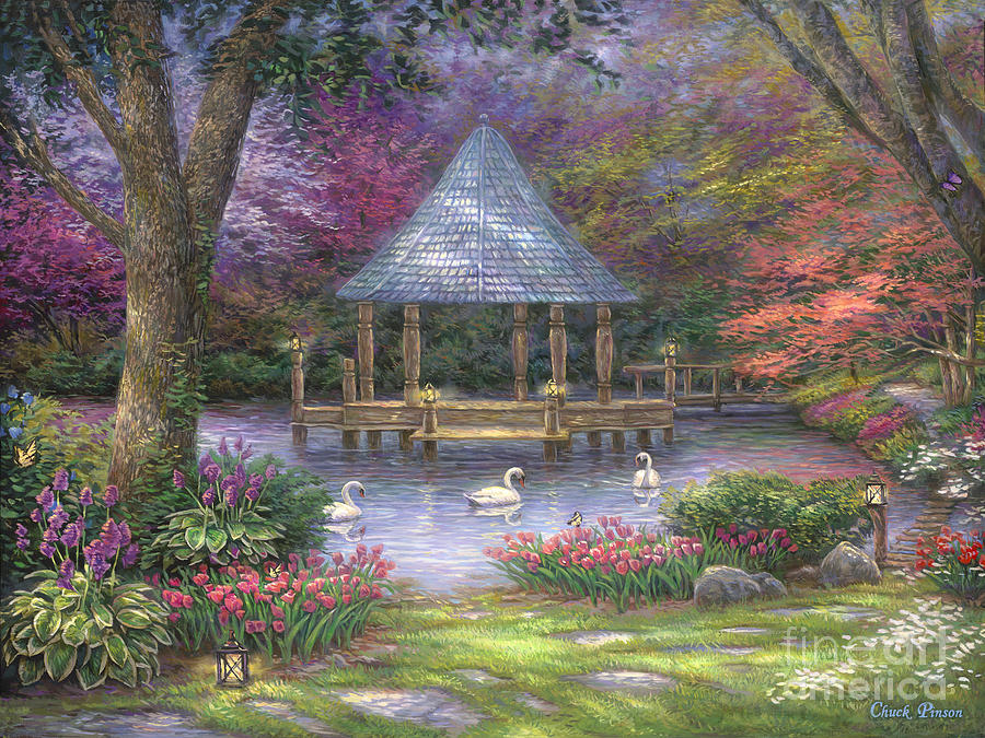 Commission Painting - Swan Pond by Chuck Pinson