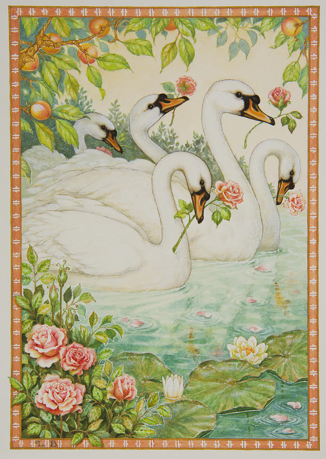 Swans Painting - Swan Romance by Lynn Bywaters