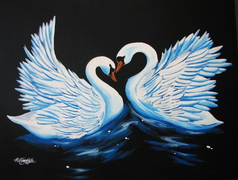 Swan Painting - Swan Waltz by Monica  Webster