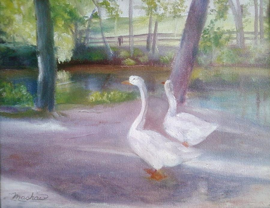 Swans Painting - Swans At Smithville Park by Sheila Mashaw