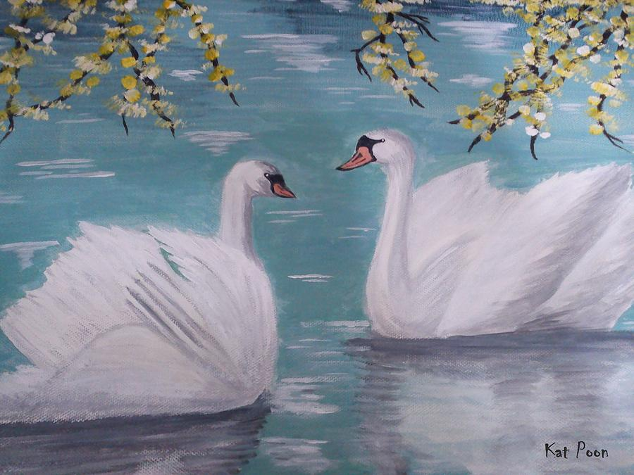 White Swans Painting - Swans On Pond by Kat Poon