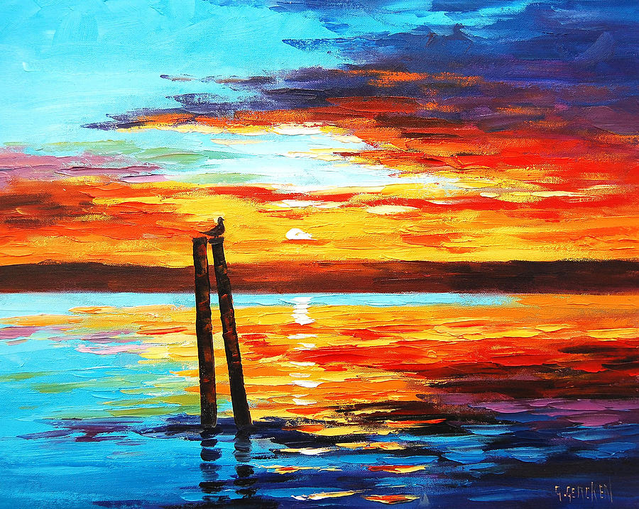 Swansea Sunset Painting by Graham Gercken | title | sunset painting