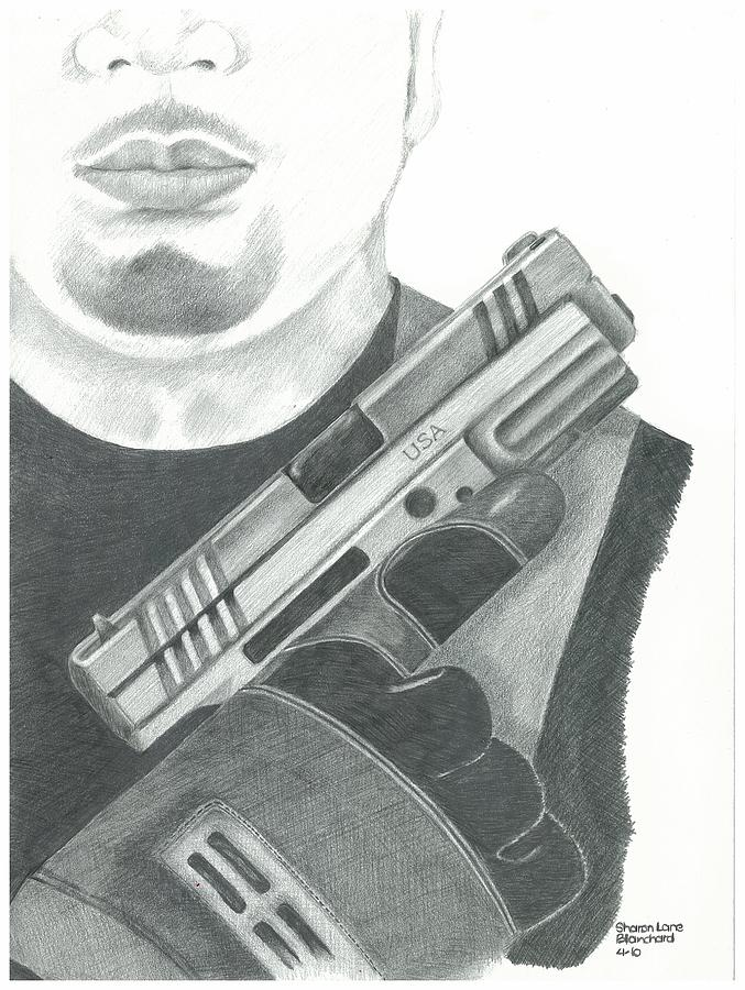 Police Drawing - S.w.a.t. Team Leader Holding A Springfield Armory Xd 40 Cal Weapon by Sharon Blanchard